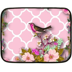 Shabby Chic,floral,bird,pink,collage Double Sided Fleece Blanket (mini)  by 8fugoso