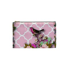 Shabby Chic,floral,bird,pink,collage Cosmetic Bag (small)  by 8fugoso