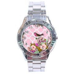 Shabby Chic,floral,bird,pink,collage Stainless Steel Analogue Watch by 8fugoso