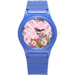 Shabby Chic,floral,bird,pink,collage Round Plastic Sport Watch (s) by 8fugoso