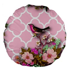 Shabby Chic,floral,bird,pink,collage Large 18  Premium Round Cushions by 8fugoso