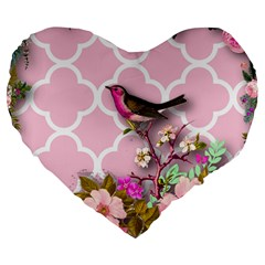 Shabby Chic,floral,bird,pink,collage Large 19  Premium Heart Shape Cushions by 8fugoso