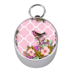 Shabby Chic,floral,bird,pink,collage Mini Silver Compasses by 8fugoso