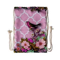 Shabby Chic,floral,bird,pink,collage Drawstring Bag (small) by 8fugoso