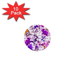 Ultra Violet,shabby Chic,flowers,floral,vintage,typography,beautiful Feminine,girly,pink,purple 1  Mini Buttons (10 Pack)  by 8fugoso