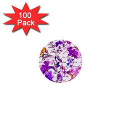 Ultra Violet,shabby Chic,flowers,floral,vintage,typography,beautiful Feminine,girly,pink,purple 1  Mini Buttons (100 Pack)  by 8fugoso