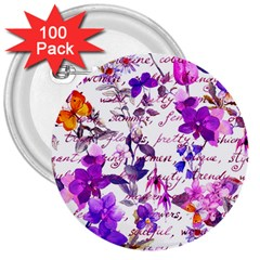 Ultra Violet,shabby Chic,flowers,floral,vintage,typography,beautiful Feminine,girly,pink,purple 3  Buttons (100 Pack)  by 8fugoso