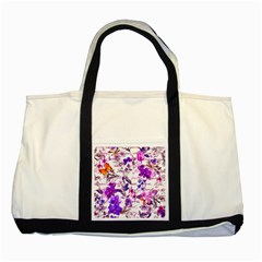 Ultra Violet,shabby Chic,flowers,floral,vintage,typography,beautiful Feminine,girly,pink,purple Two Tone Tote Bag by 8fugoso