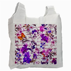 Ultra Violet,shabby Chic,flowers,floral,vintage,typography,beautiful Feminine,girly,pink,purple Recycle Bag (two Side)  by 8fugoso