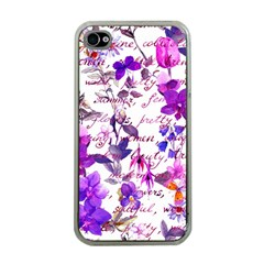 Ultra Violet,shabby Chic,flowers,floral,vintage,typography,beautiful Feminine,girly,pink,purple Apple Iphone 4 Case (clear) by 8fugoso