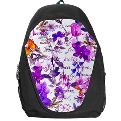 Ultra Violet,shabby Chic,flowers,floral,vintage,typography,beautiful Feminine,girly,pink,purple Backpack Bag by 8fugoso