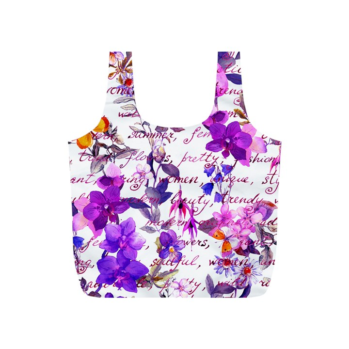 ultra violet,shabby chic,flowers,floral,vintage,typography,beautiful.feminine,girly,pink,purple Full Print Recycle Bags (S)