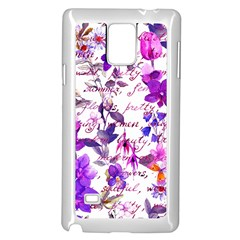Ultra Violet,shabby Chic,flowers,floral,vintage,typography,beautiful Feminine,girly,pink,purple Samsung Galaxy Note 4 Case (white) by 8fugoso