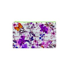 Ultra Violet,shabby Chic,flowers,floral,vintage,typography,beautiful Feminine,girly,pink,purple Cosmetic Bag (xs) by 8fugoso