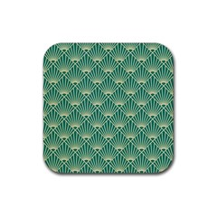 Teal,beige,art Nouveau,vintage,original,belle Époque,fan Pattern,geometric,elegant,chic Rubber Coaster (square)  by 8fugoso
