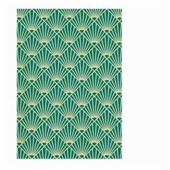 Teal,beige,art Nouveau,vintage,original,belle Époque,fan Pattern,geometric,elegant,chic Large Garden Flag (two Sides) by 8fugoso