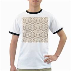 Gold,white,art Deco,vintage,shell Pattern,asian Pattern,elegant,chic,beautiful Ringer T Shirts by 8fugoso