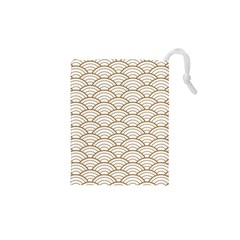 Gold,white,art Deco,vintage,shell Pattern,asian Pattern,elegant,chic,beautiful Drawstring Pouches (xs)  by 8fugoso