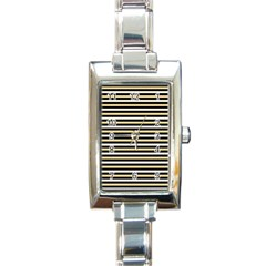 Black And Gold Stripes Rectangle Italian Charm Watch by jumpercat