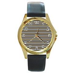 Black And Gold Stripes Round Gold Metal Watch by jumpercat