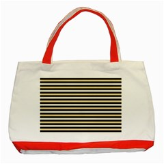 Black And Gold Stripes Classic Tote Bag (red) by jumpercat