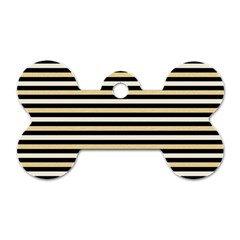 Black And Gold Stripes Dog Tag Bone (two Sides) by jumpercat