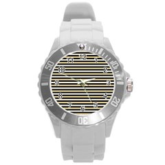 Black And Gold Stripes Round Plastic Sport Watch (l) by jumpercat