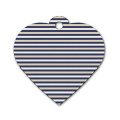 Royal Gold Classic Stripes Dog Tag Heart (one Side) by jumpercat