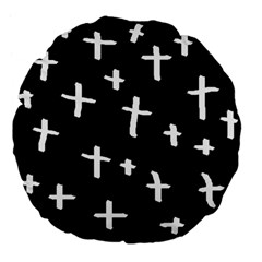 White Cross Large 18  Premium Flano Round Cushions by snowwhitegirl