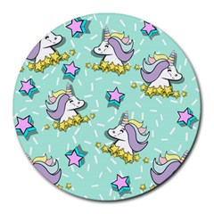 Magical Happy Unicorn And Stars Round Mousepads by allthingseveryday