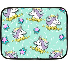 Magical Happy Unicorn And Stars Fleece Blanket (mini) by allthingseveryday