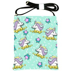 Magical Happy Unicorn And Stars Shoulder Sling Bags by allthingseveryday