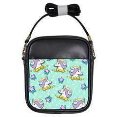 Magical Happy Unicorn And Stars Girls Sling Bags by allthingseveryday