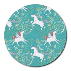 Magical Flying Unicorn Pattern Round Mousepads by allthingseveryday