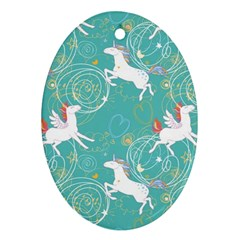 Magical Flying Unicorn Pattern Oval Ornament (two Sides) by allthingseveryday