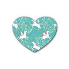 Magical Flying Unicorn Pattern Rubber Coaster (heart)  by allthingseveryday