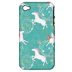 Magical Flying Unicorn Pattern Apple Iphone 4/4s Hardshell Case (pc+silicone) by allthingseveryday