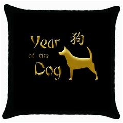 Year Of The Dog   Chinese New Year Throw Pillow Case (black) by Valentinaart
