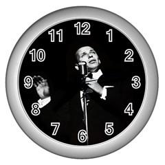 Frank Sinatra  Wall Clocks (silver)  by Valentinaart