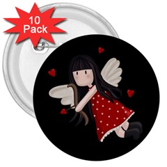 Cupid Girl 3  Buttons (10 Pack)  by Valentinaart