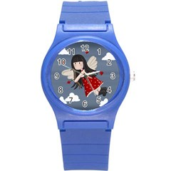 Cupid Girl Round Plastic Sport Watch (s) by Valentinaart