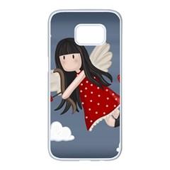 Cupid Girl Samsung Galaxy S7 Edge White Seamless Case by Valentinaart