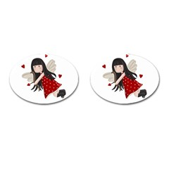 Cupid Girl Cufflinks (oval) by Valentinaart