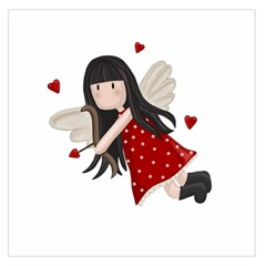 Cupid Girl Large Satin Scarf (square) by Valentinaart