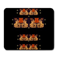 Geisha With Friends In Lotus Garden Having A Calm Evening Large Mousepads by pepitasart