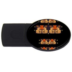 Geisha With Friends In Lotus Garden Having A Calm Evening Usb Flash Drive Oval (4 Gb) by pepitasart