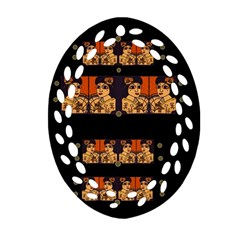 Geisha With Friends In Lotus Garden Having A Calm Evening Oval Filigree Ornament (two Sides) by pepitasart