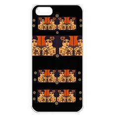 Geisha With Friends In Lotus Garden Having A Calm Evening Apple Iphone 5 Seamless Case (white) by pepitasart