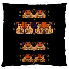 Geisha With Friends In Lotus Garden Having A Calm Evening Large Flano Cushion Case (two Sides) by pepitasart