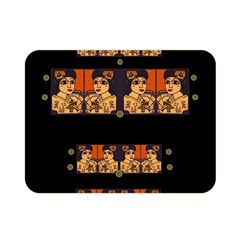 Geisha With Friends In Lotus Garden Having A Calm Evening Double Sided Flano Blanket (mini)  by pepitasart